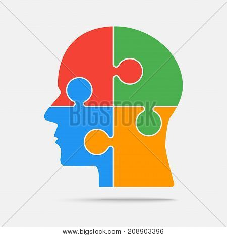 Multi Color Puzzle Piece Silhouette Head in a Grey Square - Vector Illustration. Jigsaw Puzzle Blank Template. Vector Object.