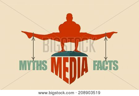Balance between myths and facts. Silhouette of a man tied with the words. Fake news banner background