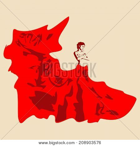 Sexy woman silhouette in red evening dress. Girl covering her breast by hand.