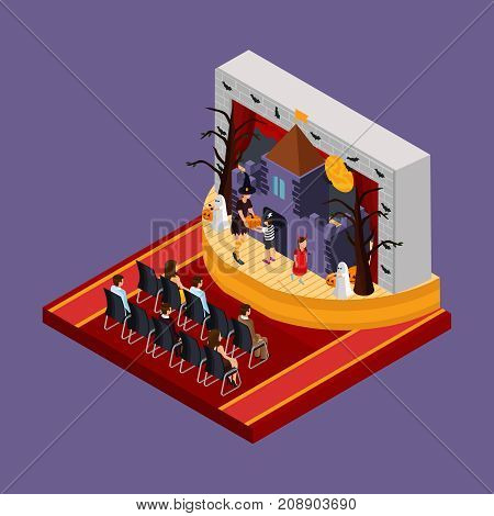 Isometric Halloween theatrical performance concept with spectators and actors bats scary trees haunted castle on stage isolated vector illustration
