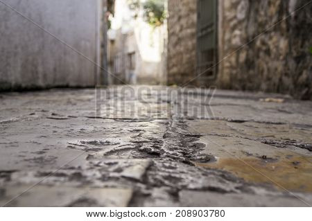 Stones rubbed to the shine of the old city in perspective. Budva. Montenegro