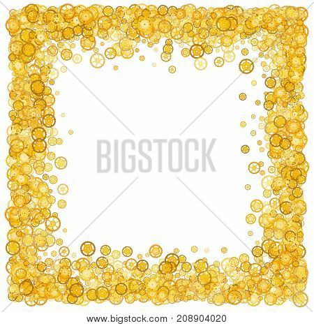 Card with many gears. Gold border. Shimmer. Golden frame of gears. Confetti. Technological frame. Mechanical design. Yellow cogs