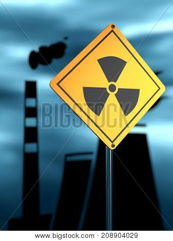 Atomic power station silhouette. Nuclear security theme. Warning yellow road sign with radioactivity icon. 3D rendering