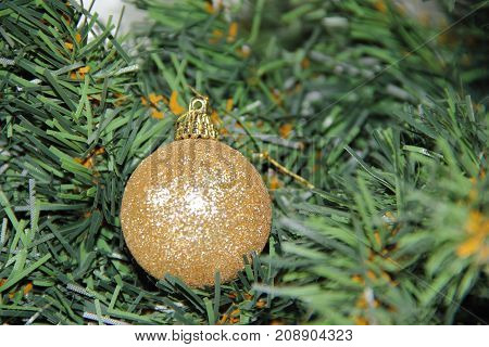 christmas balls on white golden tree with red backgrounds white
