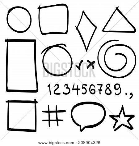 Sketch symbols sign. Sketch figure icons, Sketch numbers, Vector illustration