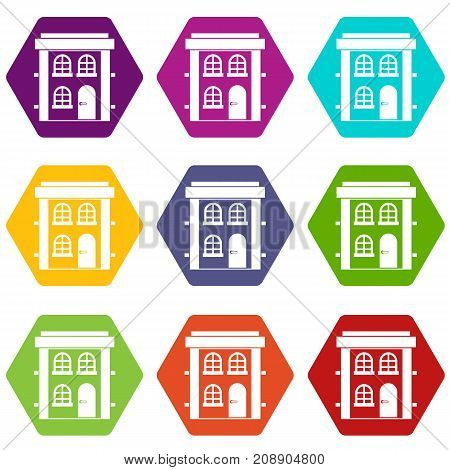 Two-storey residential house icon set many color hexahedron isolated on white vector illustration