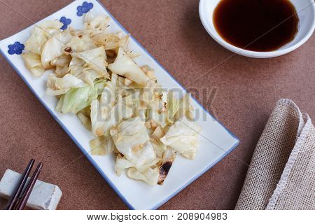 Stir-Fried Cabbage with Fish Sauce , Healthy food