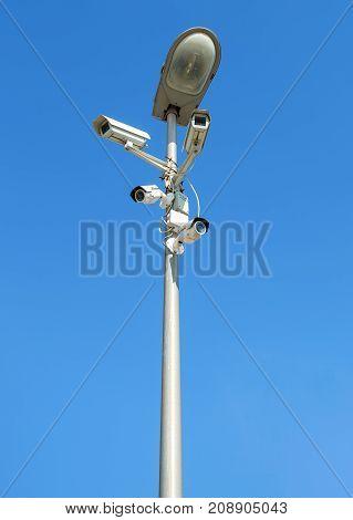 Samara Russia - September 3 2017: Surveillance cameras mounted on the street lamp