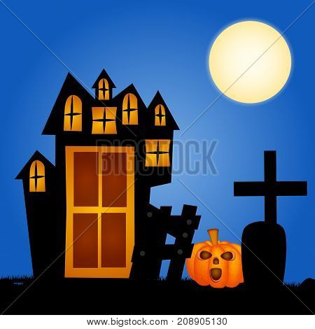 illustration of pumpkin, cross, house, grave and moon on the occasion of Halloween Celebration