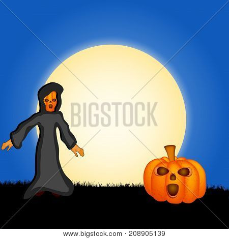 illustration of Pumpkin, Evil and Moon on the occasion of Halloween Celebration