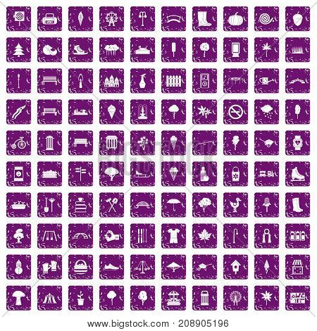 100 park icons set in grunge style purple color isolated on white background vector illustration