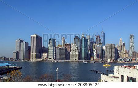 View of New York city from Brooklyn Bridge USA