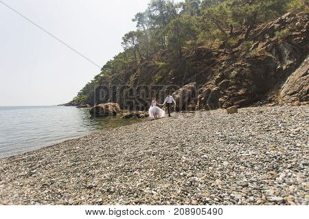 Bride and Groom in their wedding day on nature