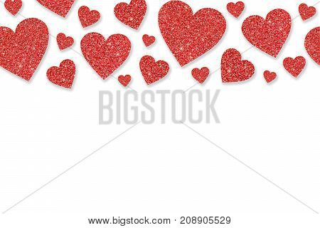 Border with red hearts of sequin confetti. Glitter powder sparkling background. Valentine's day background.