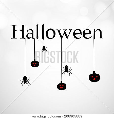 illustration of hanging spiders and pumpkin with Halloween text on the occasion of Halloween Celebration