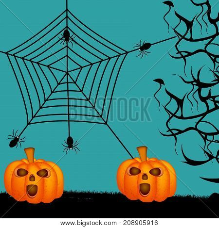 illustration of pumpkin, spiders and web on the occasion of Halloween Celebration
