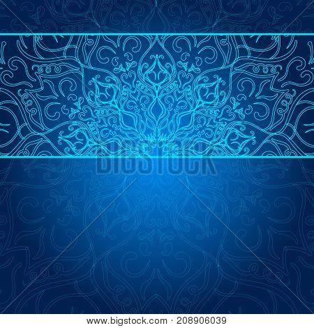 Card with glow mandala. Lace background. Card or invitation. Blue mandala. Invitation. Geometric circle element. Write your text on the left.