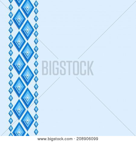 Seamless abstract background with rhombuses. Blue diamonds. Can be used us invitation card.