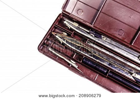 Case Of Drawing Instruments Isolated On White