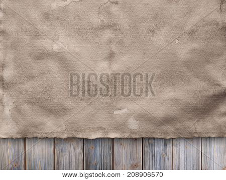 Creased Paper Sheet On Wooden Wall Background