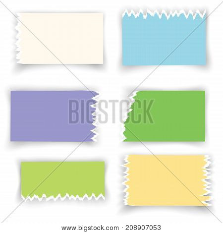 colorful ragged sheets of paper isolated on white background
