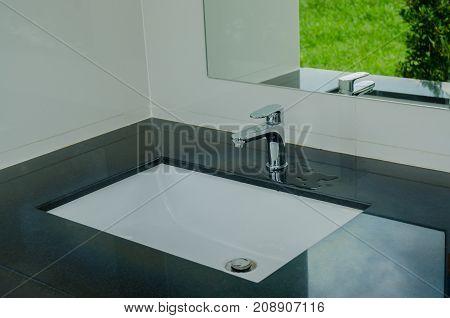 Modern Wash Basin In The Bathroom