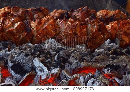 Close Up Of Shish Meat Over Char Grill