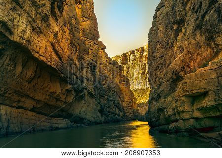 Dog Canyon At Big Bend National Park in the State of Texas with sun low in the sky