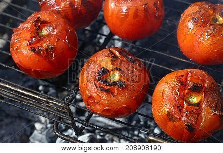 Red Tomatoes Cooked On Bbq Grill Close Up
