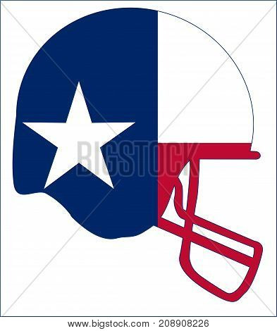 The flag of the USA state of TEXAS below a football helmet silhouette