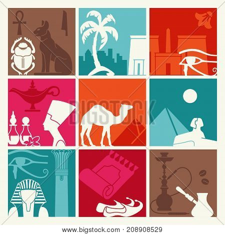 Background of the squares with the tourist symbols of Egypt