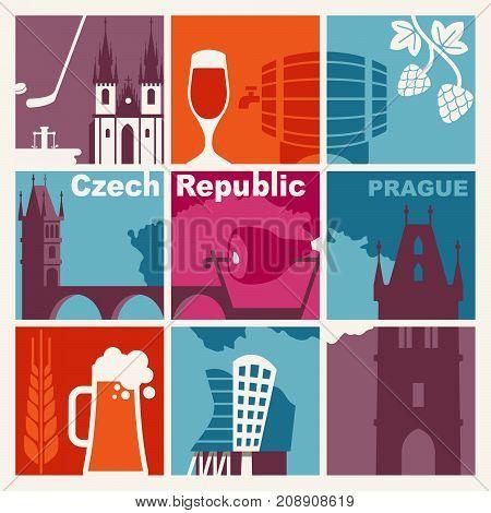 Czech Republic symbol. Vector icons and symbols set