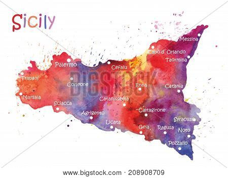 Stylized map of the Italian island of Sicily. Vector Illustration