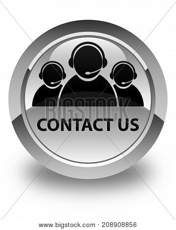 Contact Us (customer Care Team Icon) Glossy White Round Button