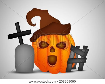 illustration of pumpkin in hat, cross and grave on the occasion of Halloween Celebration
