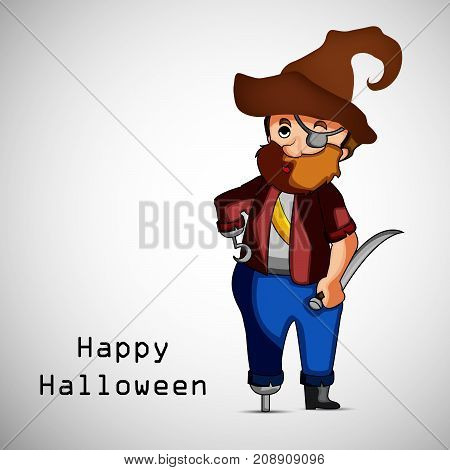 illustration of Pirate with happy Halloween text on the occasion of Halloween Celebration