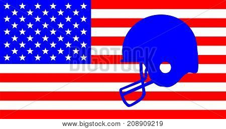 Outline sketch of a football helmet in blue set on a Stars and Stripes background