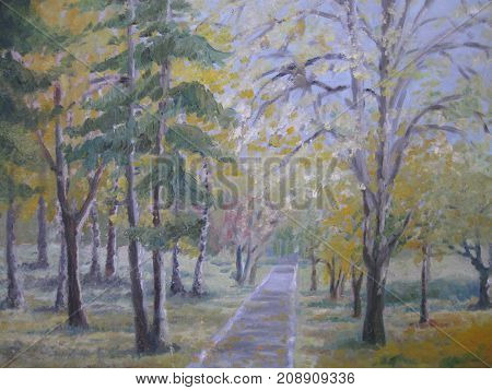 Oil painting colorful autumn trees. Landscape painting
