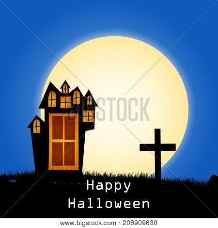 illustration of house, cross and moon with happy Halloween text on the occasion of Halloween Celebration