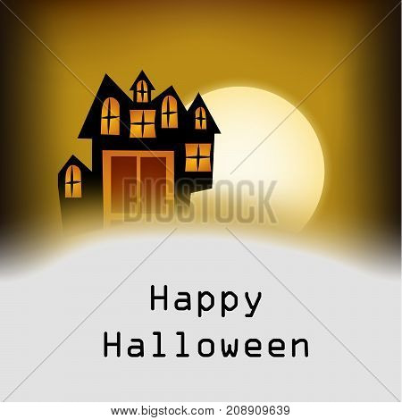 illustration of house and moon with happy Halloween text on the occasion of Halloween Celebration