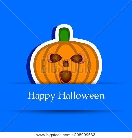 illustration of pumpkin with happy Halloween text on the occasion of Halloween Celebration