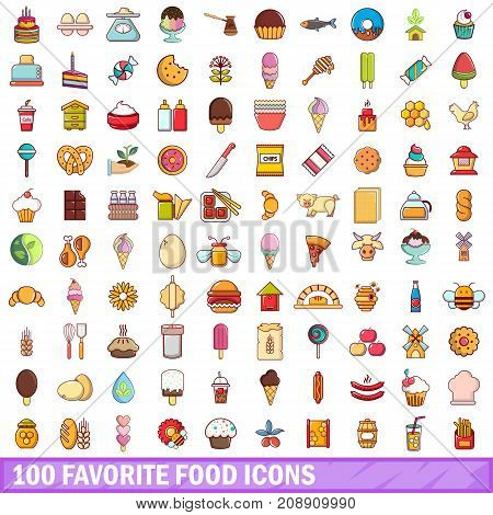 100 favorite food icons set in cartoon style for any design vector illustration