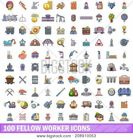100 fellow worker icons set in cartoon style for any design vector illustration