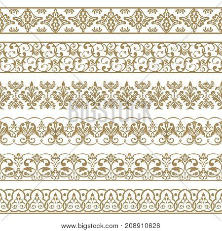 A vector set of art dividers in east style. Borders for the text invitation cards various printing editions. Golden seamless elements of design.