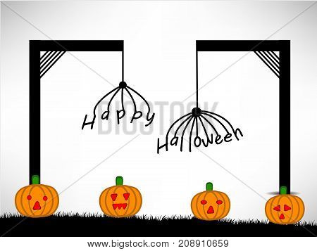illustration of Pumpkins with Happy Halloween text on the occasion of Halloween Celebration