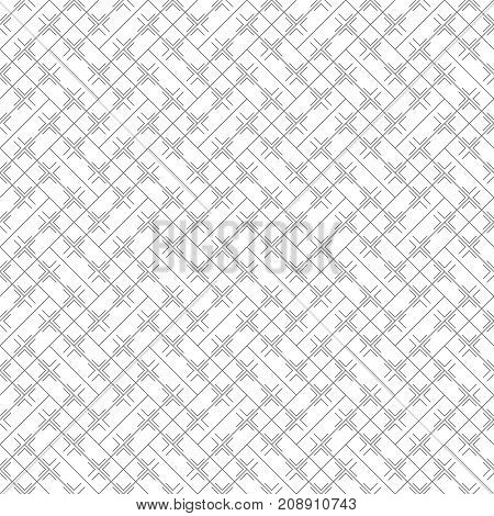Vector seamless pattern. Simple minimal abstract geometric background. Modern linear texture with thin lines. Regularly repeating geometrical tiled grid with rhombus diamond crosses corners. Trendy design