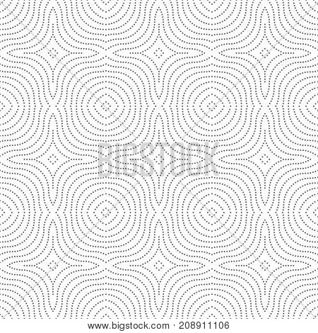 Vector seamless pattern. Modern stylish texture in the form of rhombus tiles. Regularly repeating geometric shapes dotted rhombuses diamonds crosses. Vector element of graphical design