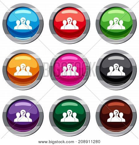 Group of people with unknown personality set icon isolated on white. 9 icon collection vector illustration