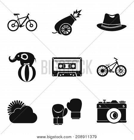 Bike ride icons set. Simple set of 9 bike ride vector icons for web isolated on white background