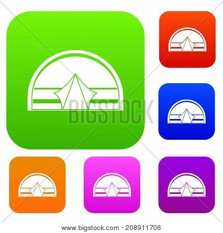 Semicircular tent set icon color in flat style isolated on white. Collection sings vector illustration